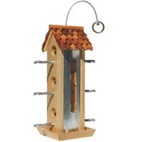 2LB WOOD TIN JAY BIRD FEEDER